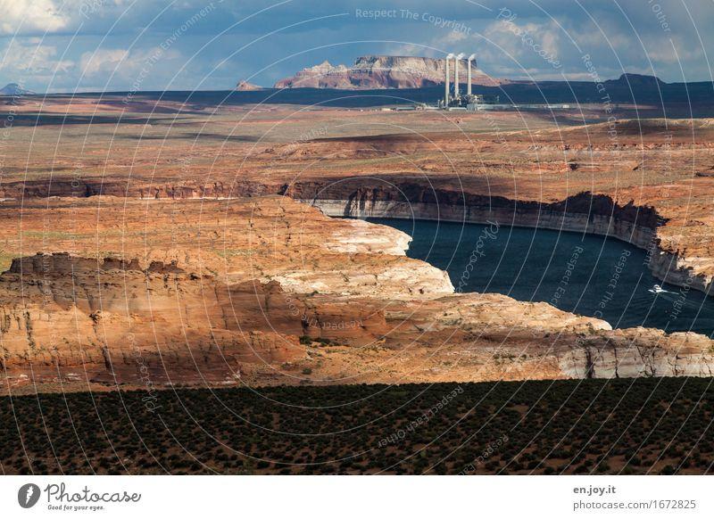 Raubbau Natur Ferien & Urlaub & Reisen Landschaft Umwelt See Felsen Horizont Energiewirtschaft Klima Industrie USA Zukunftsangst Wüste Amerika Umweltschutz