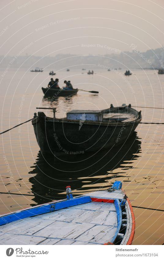 Sonnenuntergang und Boote auf dem Fluss Erholung ruhig Ferien & Urlaub & Reisen Tourismus Abenteuer Freiheit Kultur Wasser Sommer Bootsfahrt Ruderboot