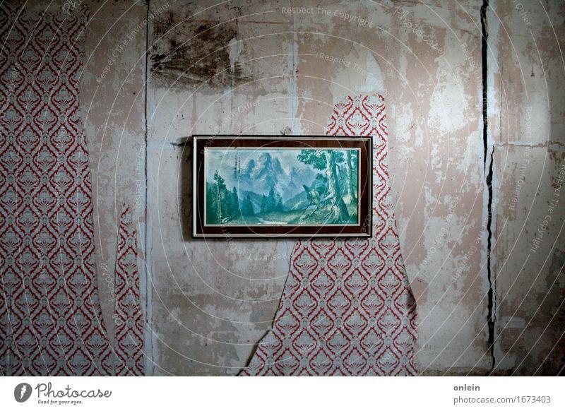 Auerhähne röhren auch alt Architektur Wand Mauer Kunst außergewöhnlich dreckig Wildtier authentisch einzigartig Kitsch Gemälde Surrealismus Ruine hässlich