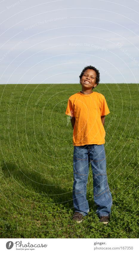 Mit der Sonne um die Wette strahlen Mensch Natur Pflanze Freude Ferne gelb Leben Junge Wiese Gras Frühling lachen Kind Landschaft Luft