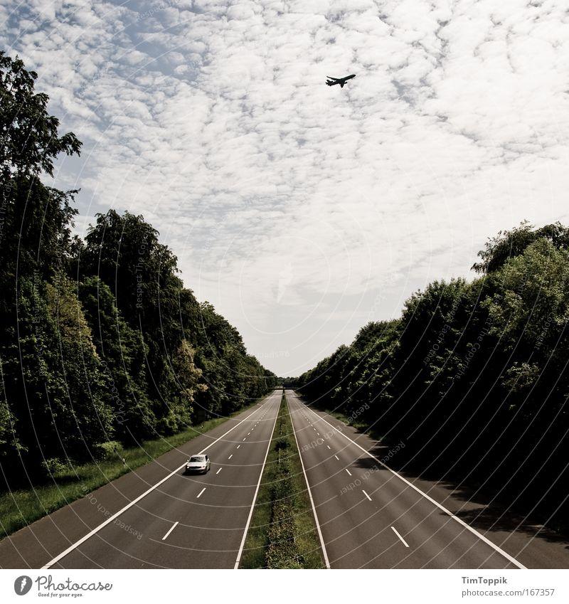 The Day After #2 Himmel Ferien & Urlaub & Reisen Einsamkeit Straße Wald PKW Flugzeug Straßenverkehr fliegen Horizont fahren Tourismus Sehnsucht Autobahn