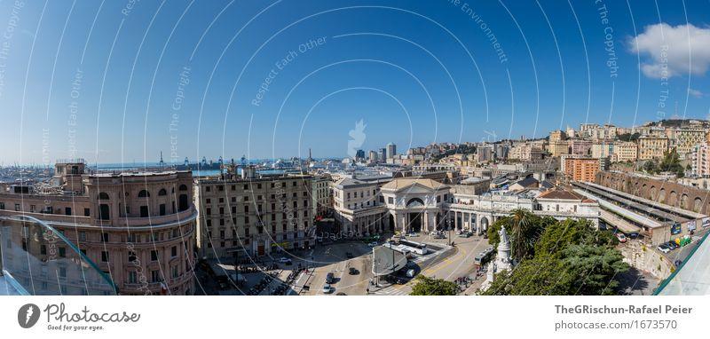 Genua Himmel Ferien & Urlaub & Reisen Stadt blau Wolken Haus Architektur Leben Gebäude braun Fassade Aussicht Italien Bauwerk Städtereise Hafenstadt