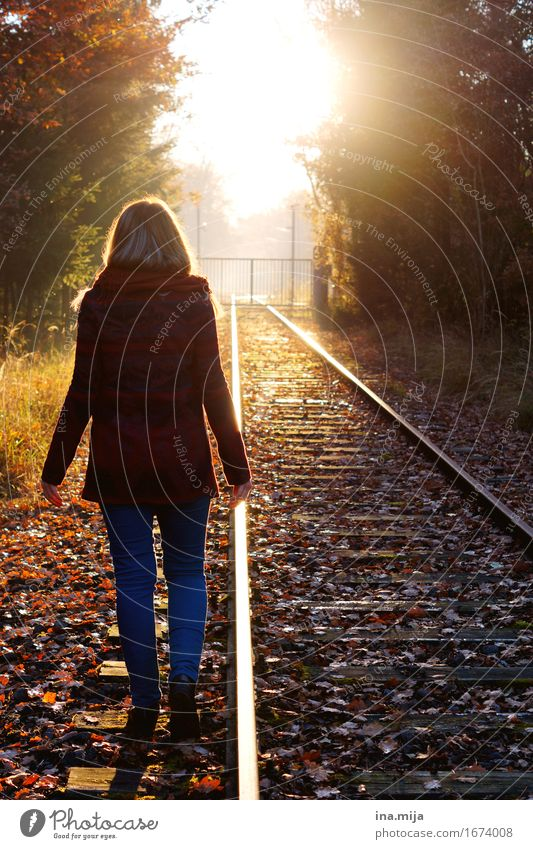 Wege gehen Mensch feminin Junge Frau Jugendliche Erwachsene Leben 1 Umwelt Natur Landschaft Sonne Sonnenaufgang Sonnenuntergang Sonnenlicht Herbst Bekleidung
