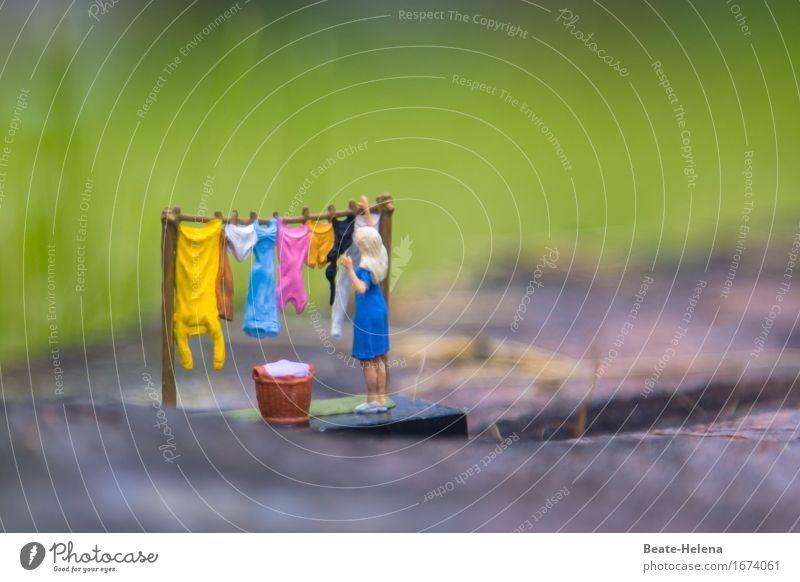 Vergebliche Mühe Häusliches Leben Arbeit & Erwerbstätigkeit Frau Erwachsene Garten Park Bekleidung Kleid Unterwäsche Wäscheleine Wäschekorb positiv Sauberkeit