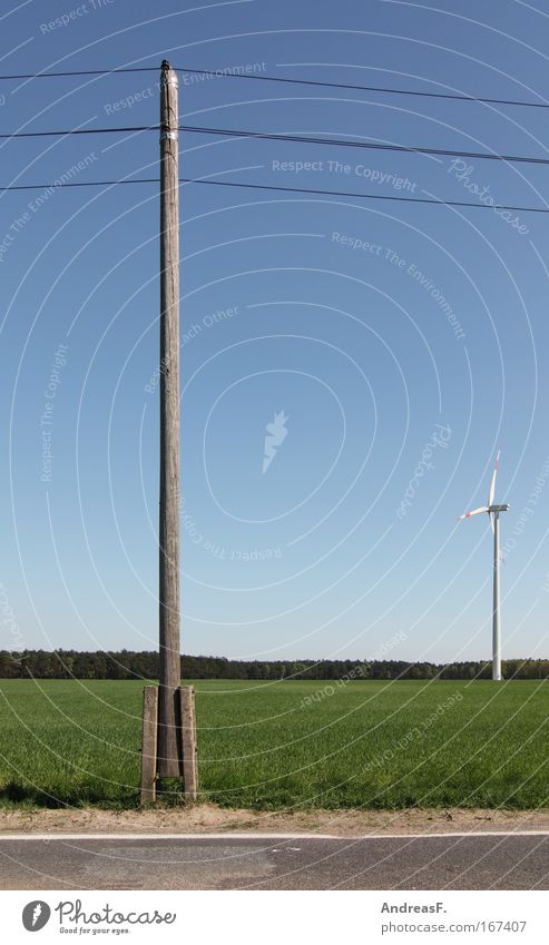 Windenergie Farbfoto Außenaufnahme Tag Kabel Energiewirtschaft Erneuerbare Energie Windkraftanlage Umwelt Natur Landschaft Wolkenloser Himmel Klimawandel