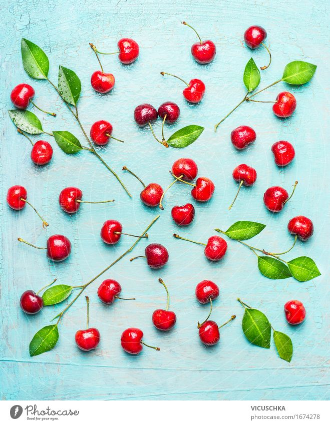 Muster aus Süßkirsche mit grünen Blättern Lebensmittel Frucht Dessert Ernährung Bioprodukte Vegetarische Ernährung Diät Stil Design Gesunde Ernährung Sommer