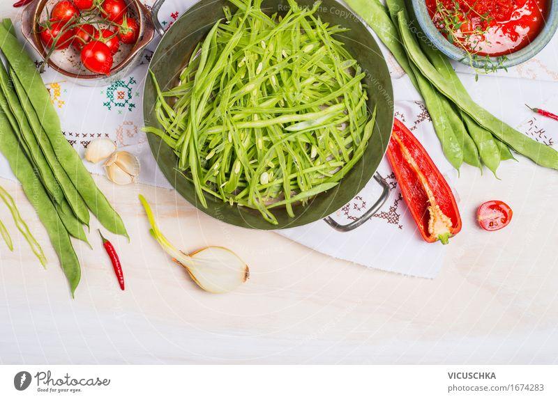 Geschnittene grüne Bohnen Lebensmittel Gemüse Kräuter & Gewürze Ernährung Festessen Bioprodukte Vegetarische Ernährung Diät Geschirr Topf Stil Design Gesundheit