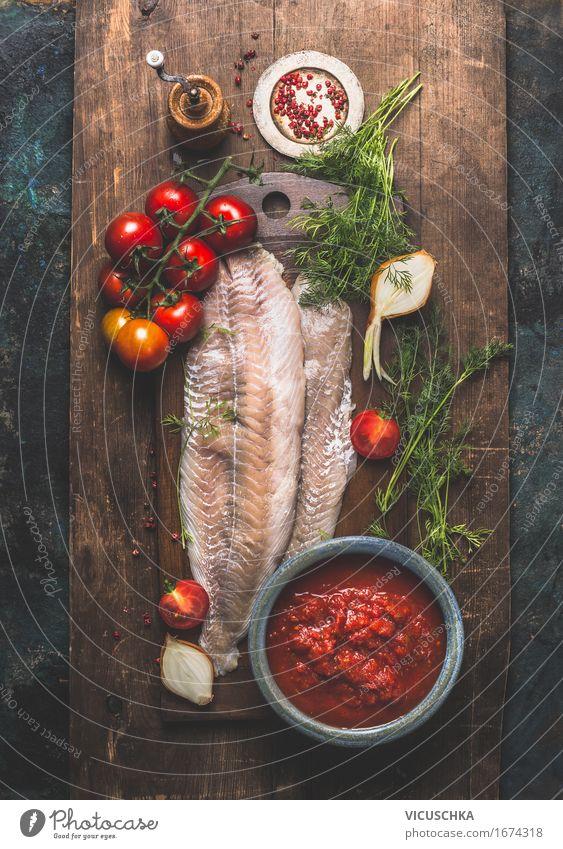 Seelachs Fischfilet mit Tomaten und Kräutern Gesunde Ernährung dunkel Leben Stil Lebensmittel Design frisch Tisch Kochen & Garen & Backen Kräuter & Gewürze