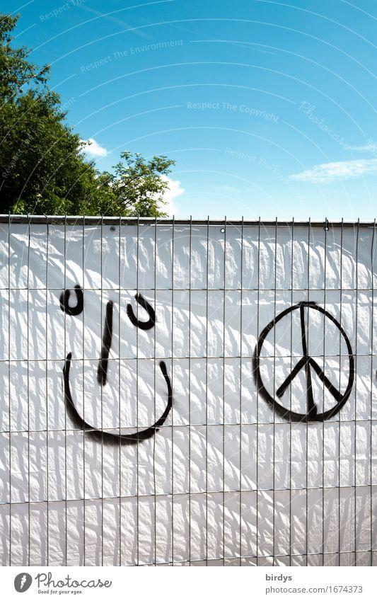 Weltfrieden wäre schon schön Himmel Baum Graffiti Lifestyle lachen Fröhlichkeit Kreativität Lächeln Zeichen Jugendkultur Freundlichkeit Hoffnung Ziel