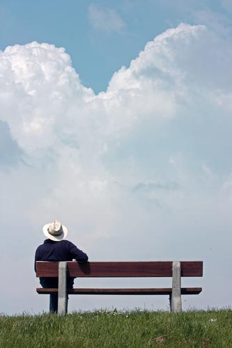 Aussichten Mensch Ferien & Urlaub & Reisen Mann Sommer Erholung ruhig Ferne Leben Senior Stil Zeit Freiheit maskulin sitzen 60 und älter Zukunft