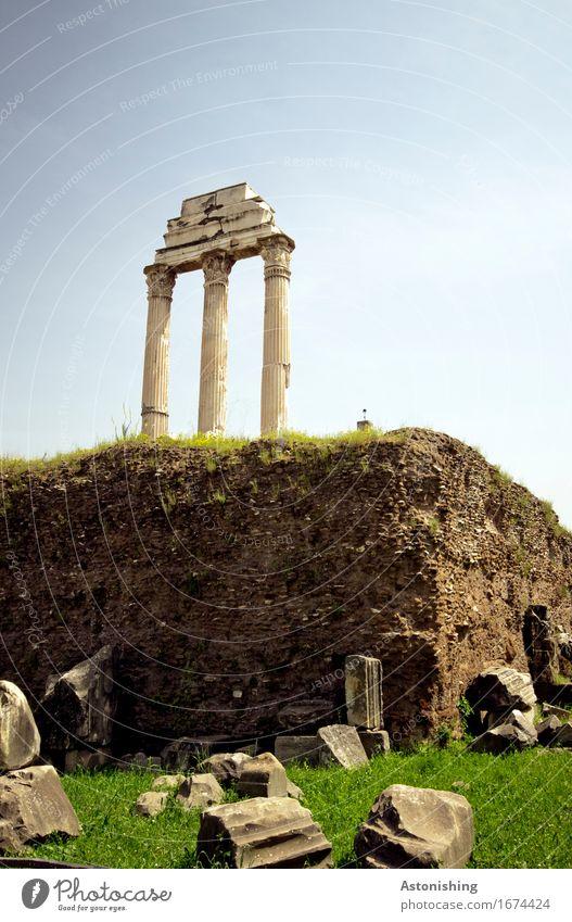 alte Mauern Skulptur Architektur Umwelt Natur Erde Sand Himmel Wolkenloser Himmel Sommer Wetter Schönes Wetter Pflanze Gras Wiese Hügel Felsen Rom Italien Stadt