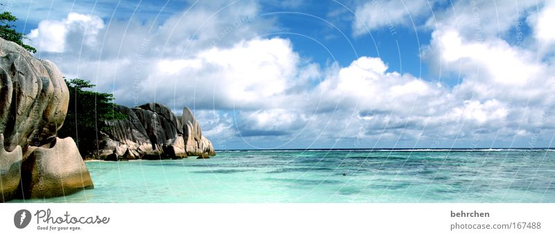 gemalt Himmel Sonne Meer Strand Ferien & Urlaub & Reisen Wolken Glück Landschaft Zufriedenheit Wellen Küste Felsen Insel fantastisch Bucht türkis