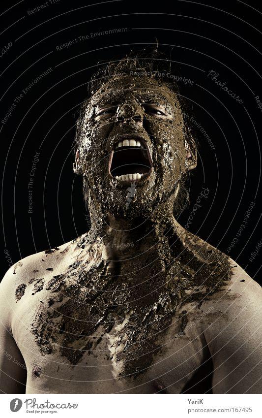 the swamp thing Mensch Mann Erwachsene Gesicht Auge Gefühle Kopf Haare & Frisuren braun Kraft Mund dreckig Haut nass maskulin Nase