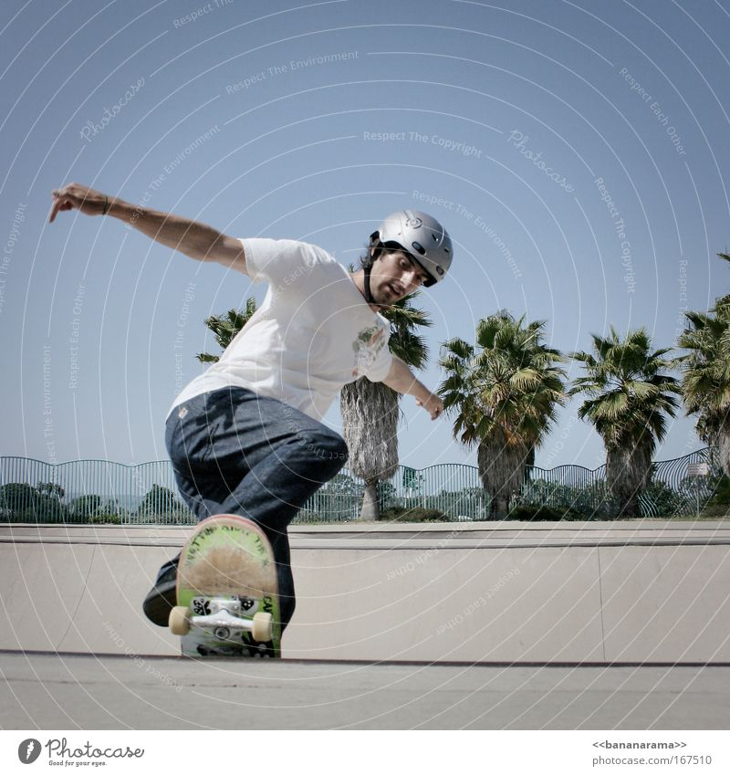 Skate in Ocean Beach Mensch Mann Jugendliche Freude Sport springen Bewegung Erwachsene Park maskulin Coolness T-Shirt fahren Schwimmbad sportlich Skateboard