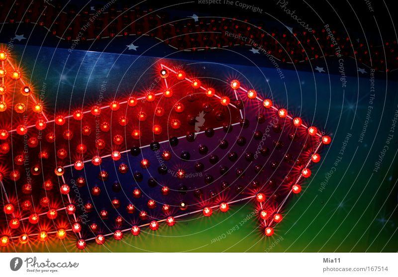 Richtungsweisend grün blau rot Freude schwarz Erholung Stimmung Schilder & Markierungen Technik & Technologie Dekoration & Verzierung leuchten Neugier Zeichen