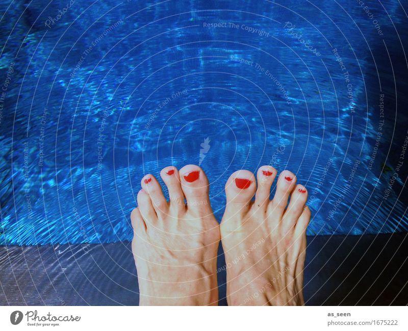 Summerfeeling Ferien & Urlaub & Reisen blau Farbe Sommer schön Wasser Erholung rot Umwelt Wärme Schwimmen & Baden Fuß Wetter Fröhlichkeit Klima Lebensfreude
