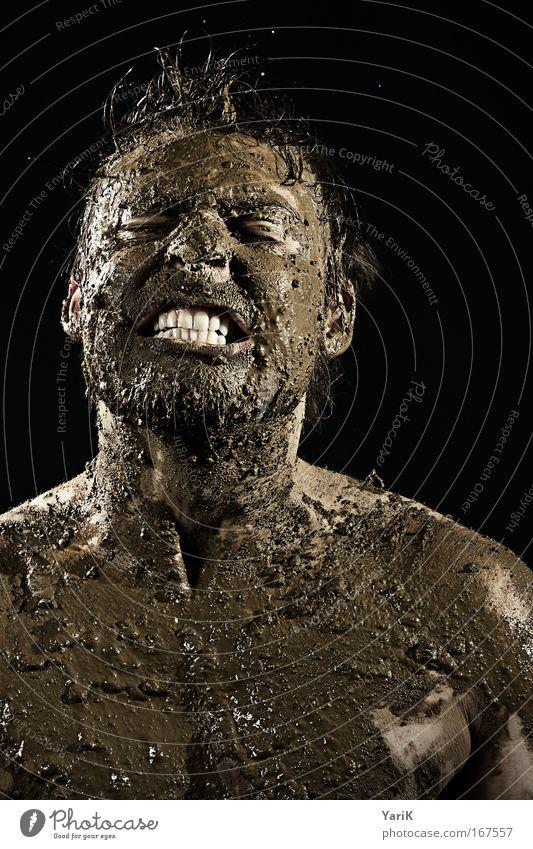 dreckskerl Farbfoto Studioaufnahme Blitzlichtaufnahme Porträt Blick in die Kamera Blick nach vorn geschlossene Augen Mensch maskulin Mann Erwachsene Haut Kopf