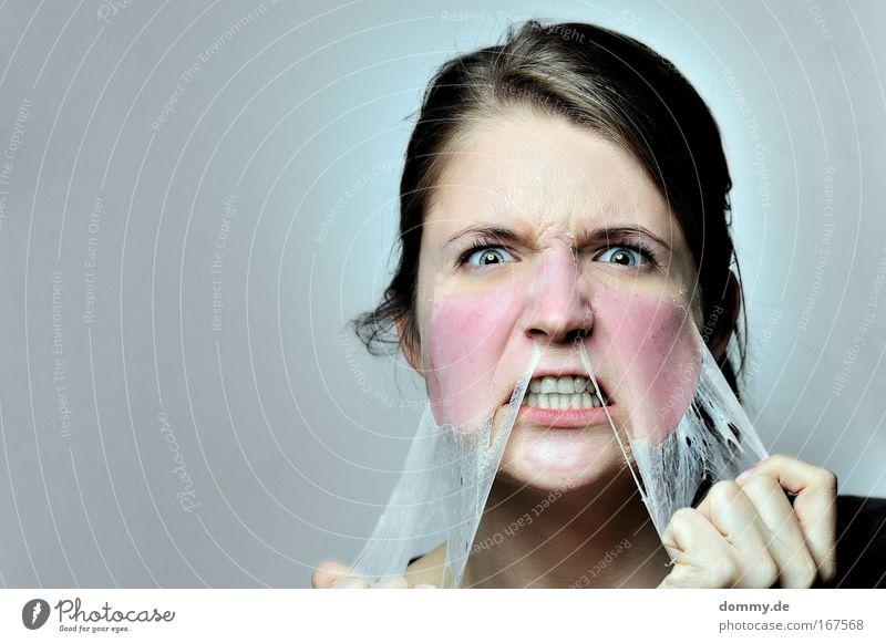 drill down Mensch Frau Jugendliche blau Junge Frau Erwachsene Gesicht 18-30 Jahre Gefühle feminin Traurigkeit Haare & Frisuren blond Haut wild Coolness
