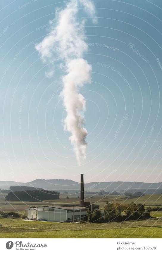Rauchschlot Farbfoto Außenaufnahme Menschenleer Textfreiraum oben Textfreiraum Mitte Tag Zentralperspektive Totale Umwelt Natur Landschaft Pflanze Luft Himmel