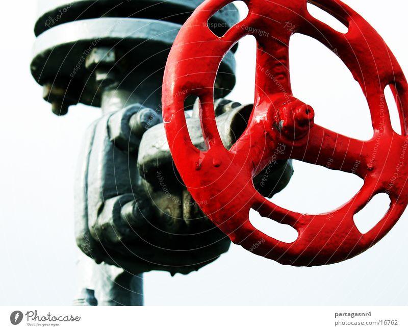 das rote Ventil Industrie Verschluss Druck