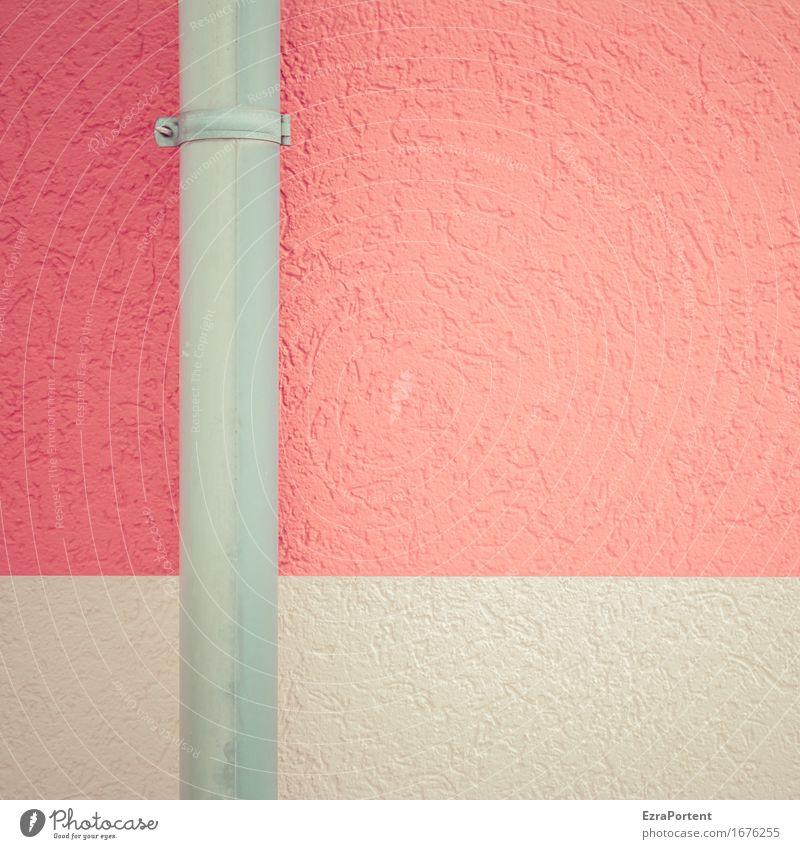 fall Rohr Haus Bauwerk Gebäude Architektur Mauer Wand Fassade Dachrinne Stein Beton Metall Linie Streifen grau rot ästhetisch Design Farbe Fallrohr Regenrinne