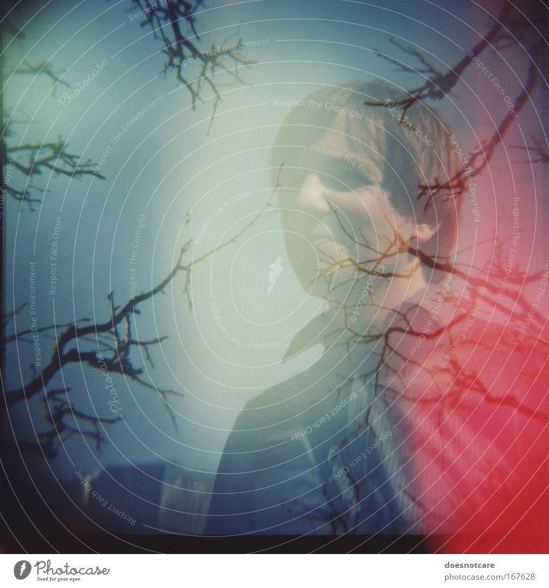 tube. Mensch Mann Jugendliche Baum blau rot Erwachsene maskulin Ast Freundlichkeit Hemd Lächeln Lomografie Doppelbelichtung Mittelformat