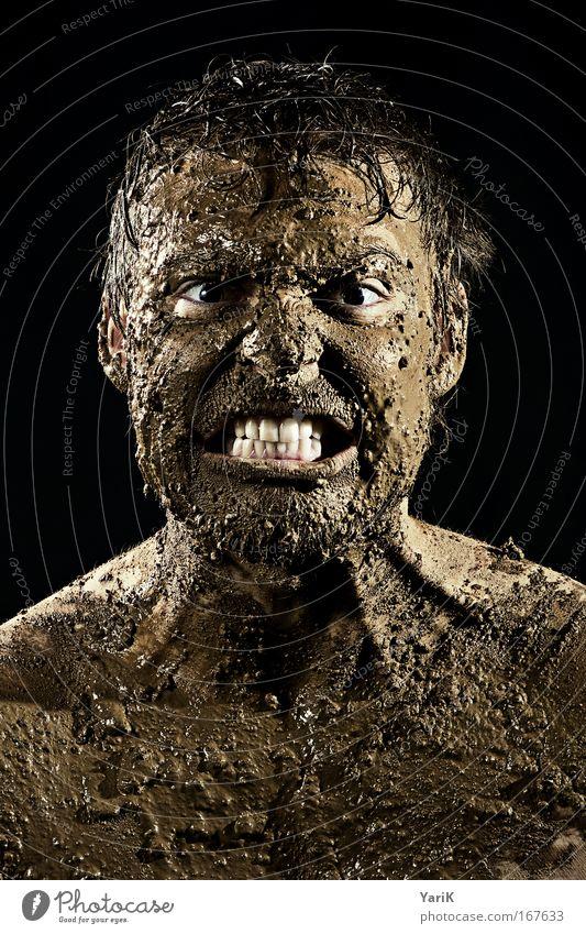 schöne träume Mensch Mann Erwachsene Gesicht Auge dunkel Gefühle Kopf Porträt braun Kraft Mund dreckig Haut nass maskulin