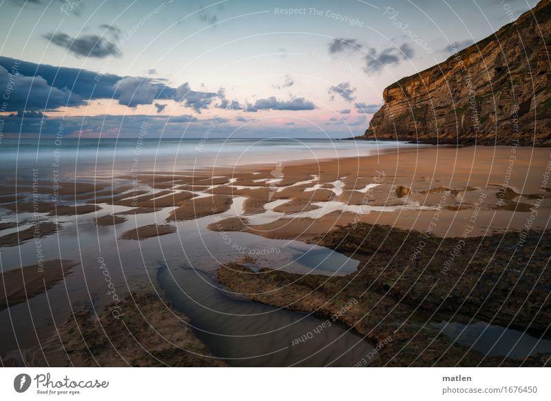 Rückfluss Natur Landschaft Sand Luft Wasser Himmel Wolken Gewitterwolken Horizont Sonnenaufgang Sonnenuntergang Sommer Wetter Schönes Wetter Felsen Wellen Küste