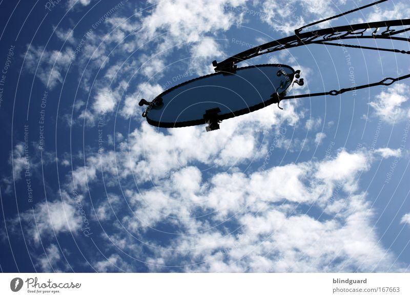 Heavens Sign Himmel Sonne blau Sommer schwarz Wolken Luft Metall glänzend elegant Schilder & Markierungen Dekoration & Verzierung Gastronomie Spiegel Restaurant Hinweisschild