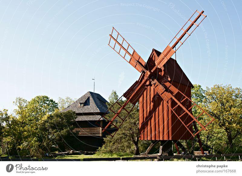 Bullerbü-Idyll alt Sommer Haus Erholung Holz Wind Umwelt Ausflug Tourismus Mühle Dorf Idylle entdecken historisch Museum Windstille