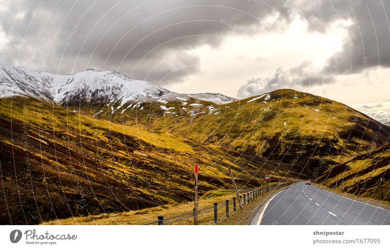 Highland Road Himmel Natur Ferien & Urlaub & Reisen Sonne Landschaft Wolken Ferne Berge u. Gebirge Straße Schnee Tourismus Wetter Verkehr PKW wandern gold