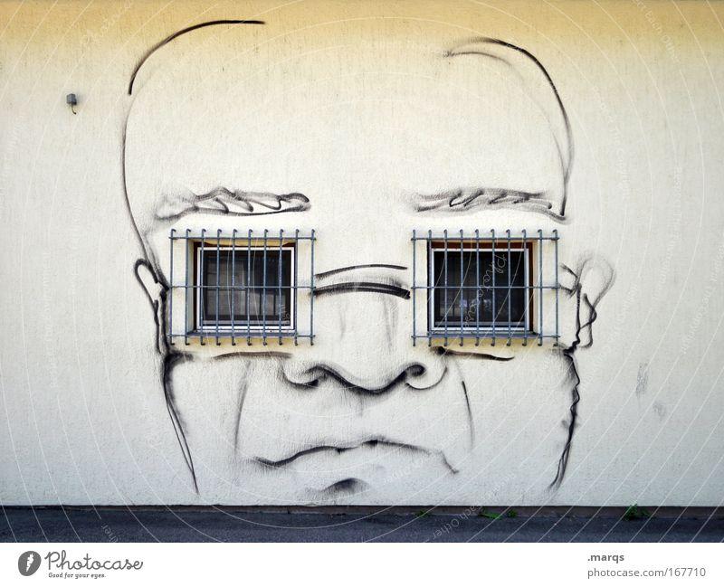 Brillenträger Mensch Stadt Gesicht Fenster Graffiti Gefühle Kopf Stil Blick Zentralperspektive maskulin Design modern außergewöhnlich Coolness Sicherheit