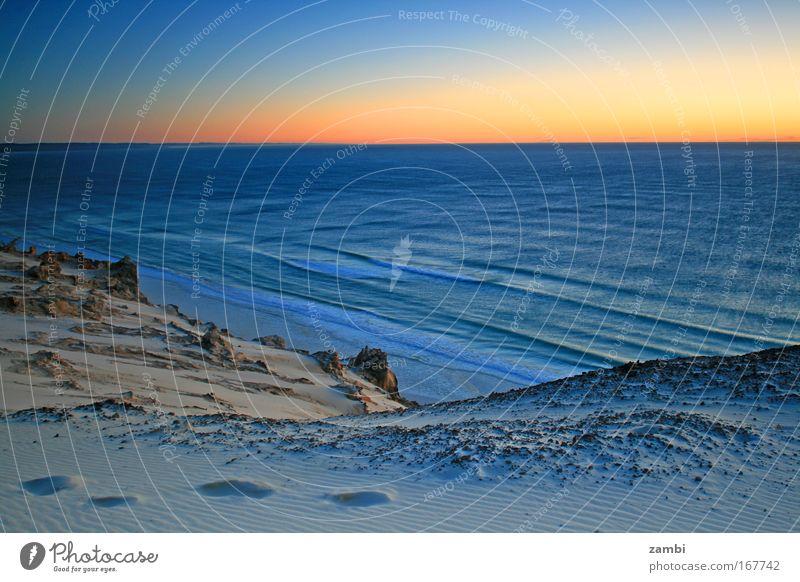 Einsame Spuren Natur Wasser schön Meer blau Strand ruhig gelb Landschaft Wellen Zeit Sonnenuntergang Fußspur Stranddüne Schönes Wetter Australien