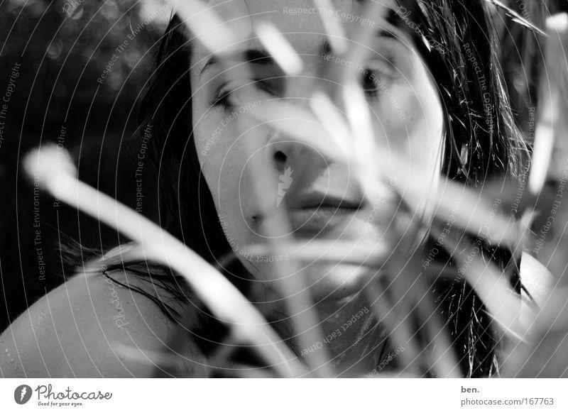 Lavendel Schwarzweißfoto Außenaufnahme Unschärfe Blick in die Kamera exotisch Gesicht harmonisch Sinnesorgane Duft Mensch Junge Frau Jugendliche Erwachsene Kopf