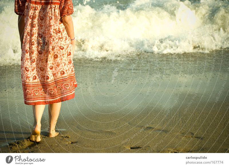 Frau Meer Strand Erwachsene feminin Sand Küste Beine Wellen 18-30 Jahre Frieden exotisch Blick nach hinten Mensch