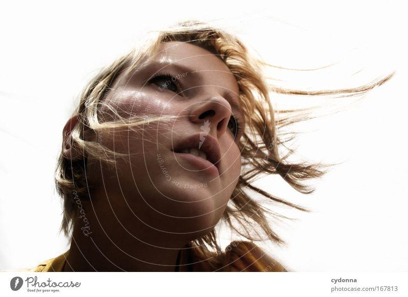 Rückenwind Frau Mensch Jugendliche schön Einsamkeit Erwachsene Gesicht Leben Freiheit Gefühle Kopf Bewegung Traurigkeit träumen Stimmung Zeit