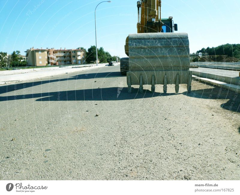 Dinosaurier II Straße Kraft Straßenverkehr Pause Baustelle Bauarbeiter Bagger Schaufel Projekt Beruf Straßenbau Bauherr Baggerschaufel