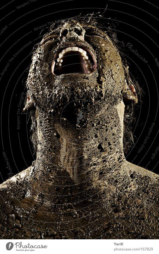 schrei nach liebe Mensch Mann Erwachsene dunkel Gefühle Kopf Haare & Frisuren braun Kraft Mund Porträt dreckig Haut nass maskulin außergewöhnlich