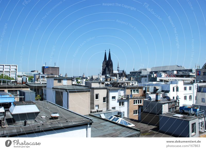 Köln View Farbfoto Außenaufnahme Menschenleer Textfreiraum oben Hintergrund neutral Tag Sonnenlicht Stadt Stadtzentrum Altstadt Skyline Haus Einfamilienhaus