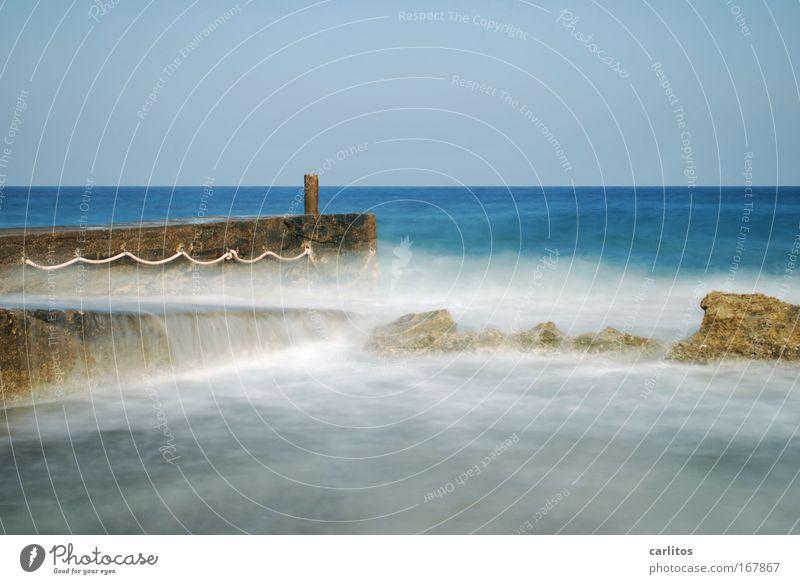 mach mal Pause ..... Zufriedenheit Erholung ruhig Ferien & Urlaub & Reisen Sommer Meer Wasser Horizont Wellen Küste träumen Unendlichkeit blau Vorsicht