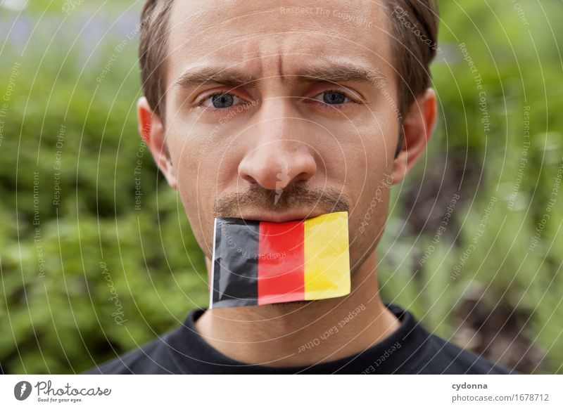 Für Deutschland Mensch Jugendliche Junger Mann 18-30 Jahre Erwachsene Leben sprechen Mund Fußball Deutsche Flagge Gesellschaft (Soziologie) Meinung