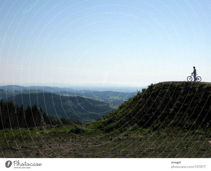 Morning View Mensch Mann Natur Ferien & Urlaub & Reisen Sonne Freude Erwachsene Landschaft Berge u. Gebirge Freiheit Fahrrad Horizont Freizeit & Hobby groß