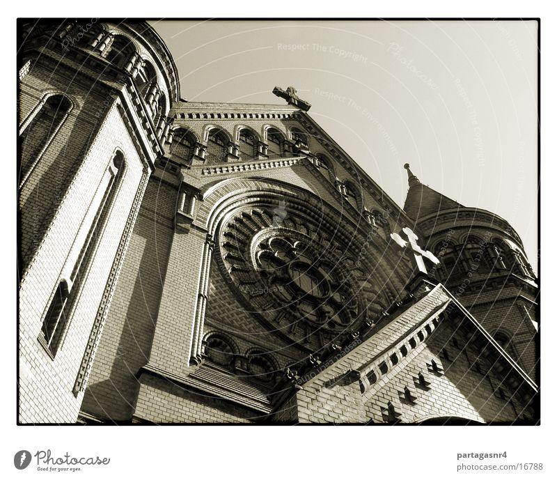 Moritzkirche von unne 2 Protestantismus Neogotik Backstein Gotteshäuser Religion & Glaube Basilika Himmel Rücken Architektur