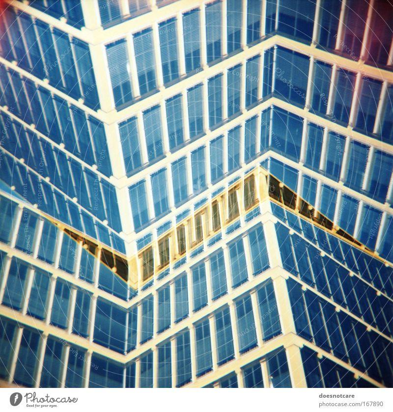 good morning, babylon. Stadt blau Haus gelb Fenster Gebäude Architektur Glas Hochhaus hoch Fassade modern neu München außergewöhnlich
