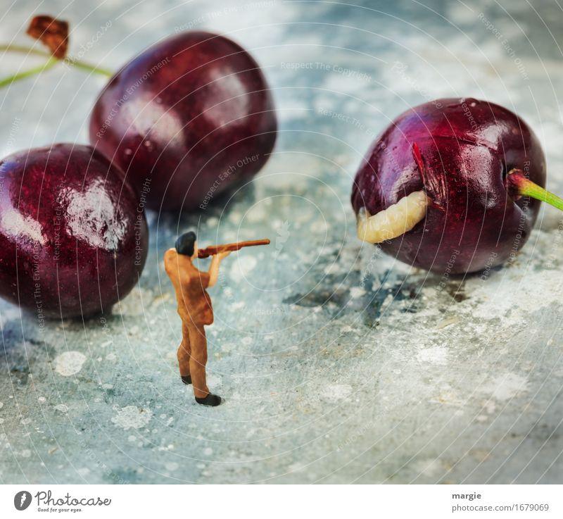 Miniwelten - Da ist der Wurm drin! Mensch Mann rot Erwachsene Lebensmittel maskulin Frucht Ernährung Bioprodukte