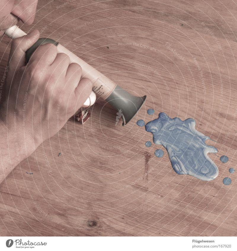Auf geht's Jungs, kämpfen und siegen! Mann Hand Musik Holz Farbstoff Stimmung Lifestyle Kommunizieren Freizeit & Hobby blasen Fleck Applaus Pfütze Trompete