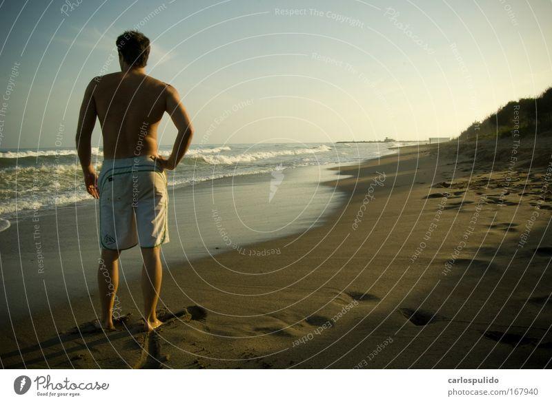 Gedeckte Farben Außenaufnahme maskulin 1 Mensch Natur Landschaft Sommer Wellen Küste Strand Bucht Meer Schwimmen & Baden Surfer Marbella Spanien Andalusien