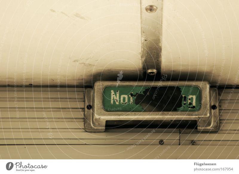 Notg Lampe Tür gehen Schilder & Markierungen Hinweisschild Zeichen Jagd Tor schreien Todesangst Platzangst Zukunftsangst Schüchternheit Ausgang Entsetzen