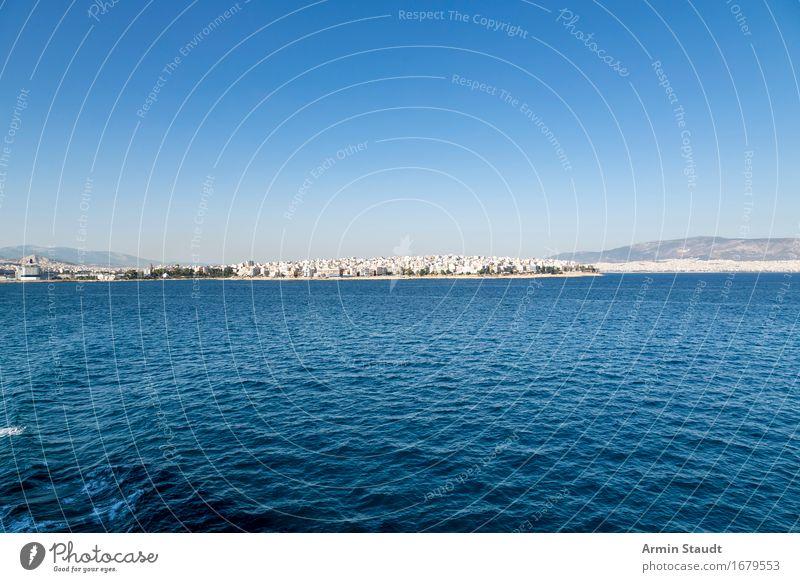 Abreise Athen Ferien & Urlaub & Reisen Sommer Himmel Wolkenloser Himmel Schönes Wetter Meer Skyline blau Güterverkehr & Logistik Europa Griechenland wegfahren
