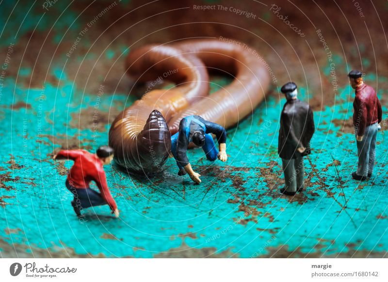 Miniwelten - Wurm Rodeo Reiten Reitsport Mensch maskulin Mann Erwachsene 4 Tier 1 springen braun türkis Angst Querformat fallen beobachten Publikum